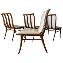Set of 4 T.H. Robsjohn-Gibbings Sabre Leg Walnut Dining Chairs, circa 1950