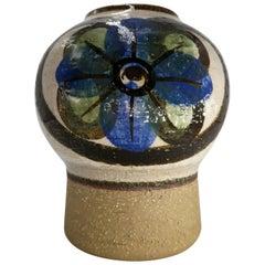 Danish Modern Ceramic Blue, Green, Brown Handmade Noomi Vase for Søholm, 1969