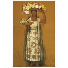 Mujer con Flores, after Spanish Colonial Oil Painting by Alfredo Ramos Martínez