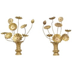 Pair of Brass Lotus Flower Wall Sconces