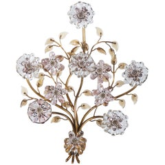 Sconce with Glass Flowers by Lobmeyr