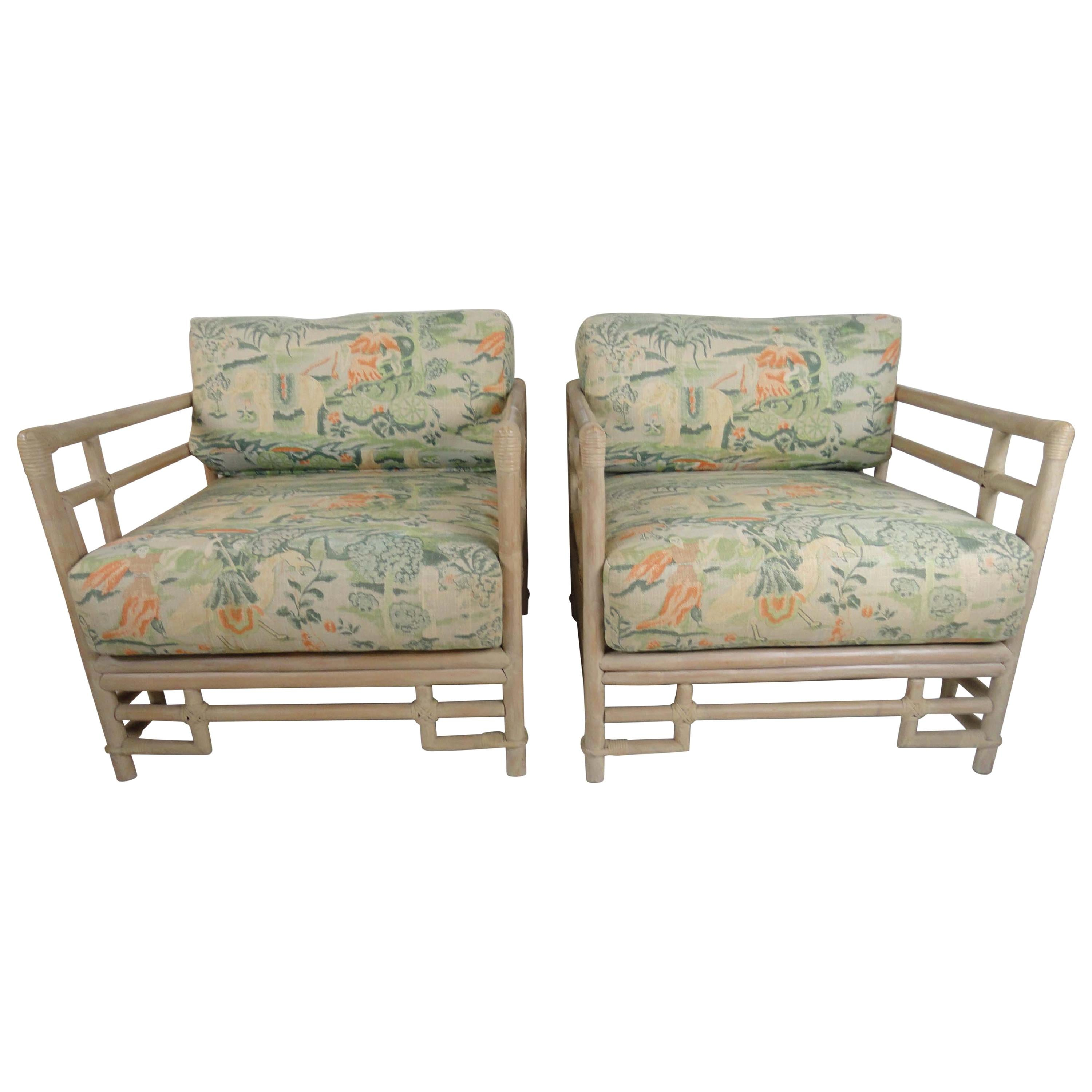 Awesome Pair Of Ficks Reed Armchairs