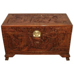 Early 20th Century Oriental Carved Camphor Wood Chest