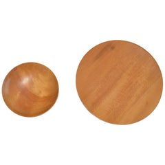 Turned Wood Bowl and Platter by James Prestini, circa 1950s