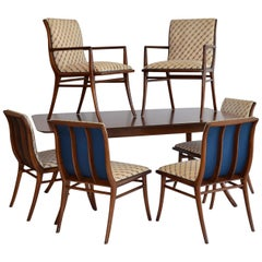 Saber Leg Dining Table with Six Chairs by T.H. Robsjohn-Gibbings for Widdicomb