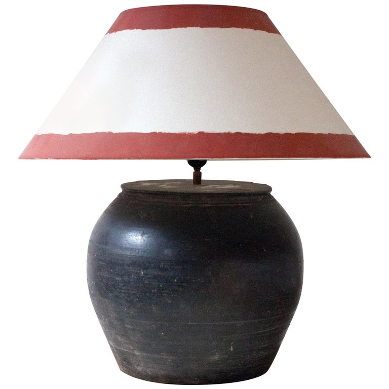 Antique Chinese Ceramic Earthenware Jar Lamp For Sale