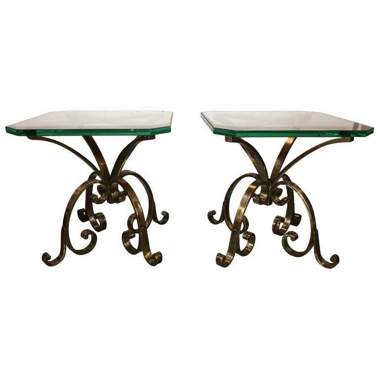 Pair of Welded Steel End, Coffee or Pedestal Tables Having Thick Glass Tops For Sale