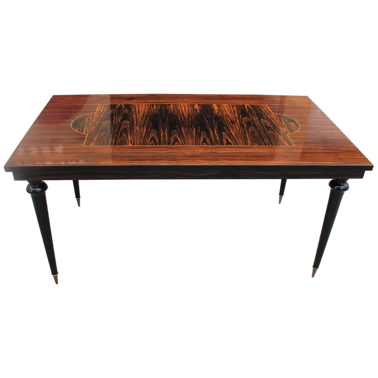 Long French Art Deco Macassar Ebony Dining Table or Writing Desks, circa 1940s