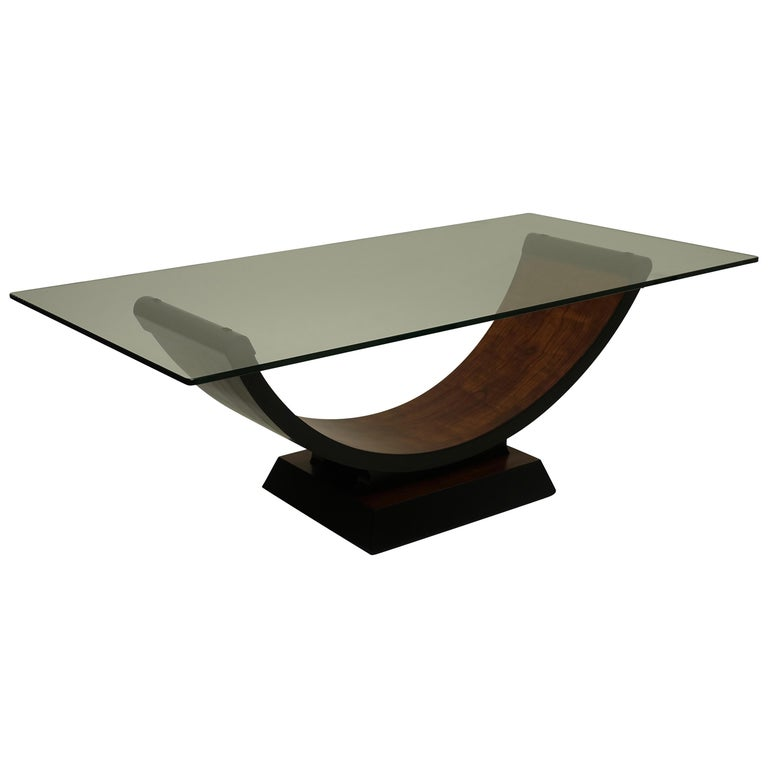 Walnut and Ebonized Wood Bateau Style Coffee Table, circa 1930s