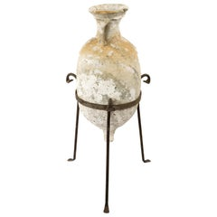 Italian Terracotta Amphora with Wrought Iron Tripod Stand