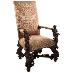 Carved Venetian Gros Point Tapestry Armchair, circa 1885