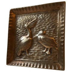 Scandinavian Bronze Ashtray with Pelicans, 1930s
