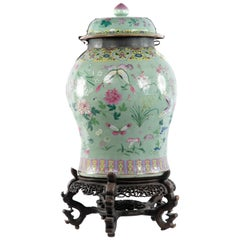 Qing Dynasty Famille Verte Baluster Vase with Stand, circa 1860