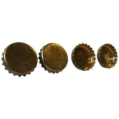 Vintage Brass Bottle Cap Drink Coasters from Georg Jensen, 1980s, Set of 4