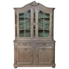 19th Century Country French Provincial Stripped Bookcase or Vitrine