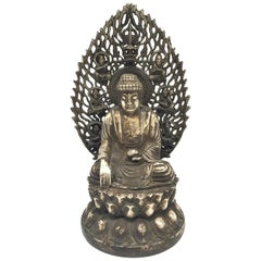 Antique Central Asian Silver Brass Buddha