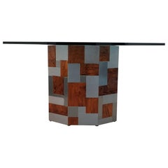 Signed Paul Evans Octagonal Cityscape Burl Wood and Chrome Dining Table