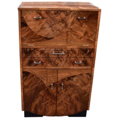 Art Deco 1930s Fitted Burr Walnut Cocktail Cabinet or Dry Bar