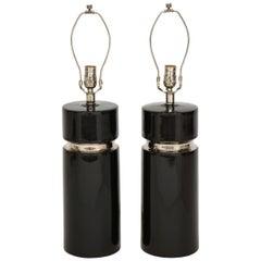 Modernist Black Ceramic Lamps