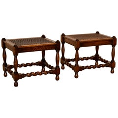 19th Century Pair of Stools with Caning
