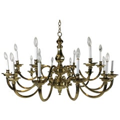 "Impressive 48"" Neoclassical 18-Arm Solid Brass Chandelier"