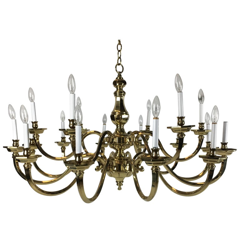 """Impressive 48"""" Neoclassical 18-Arm Solid Brass Chandelier For Sale"""