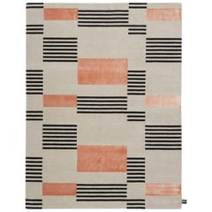Hello Sonia Carpet in Himalayan Wool and Pure Silk in Pink, Black and Natural