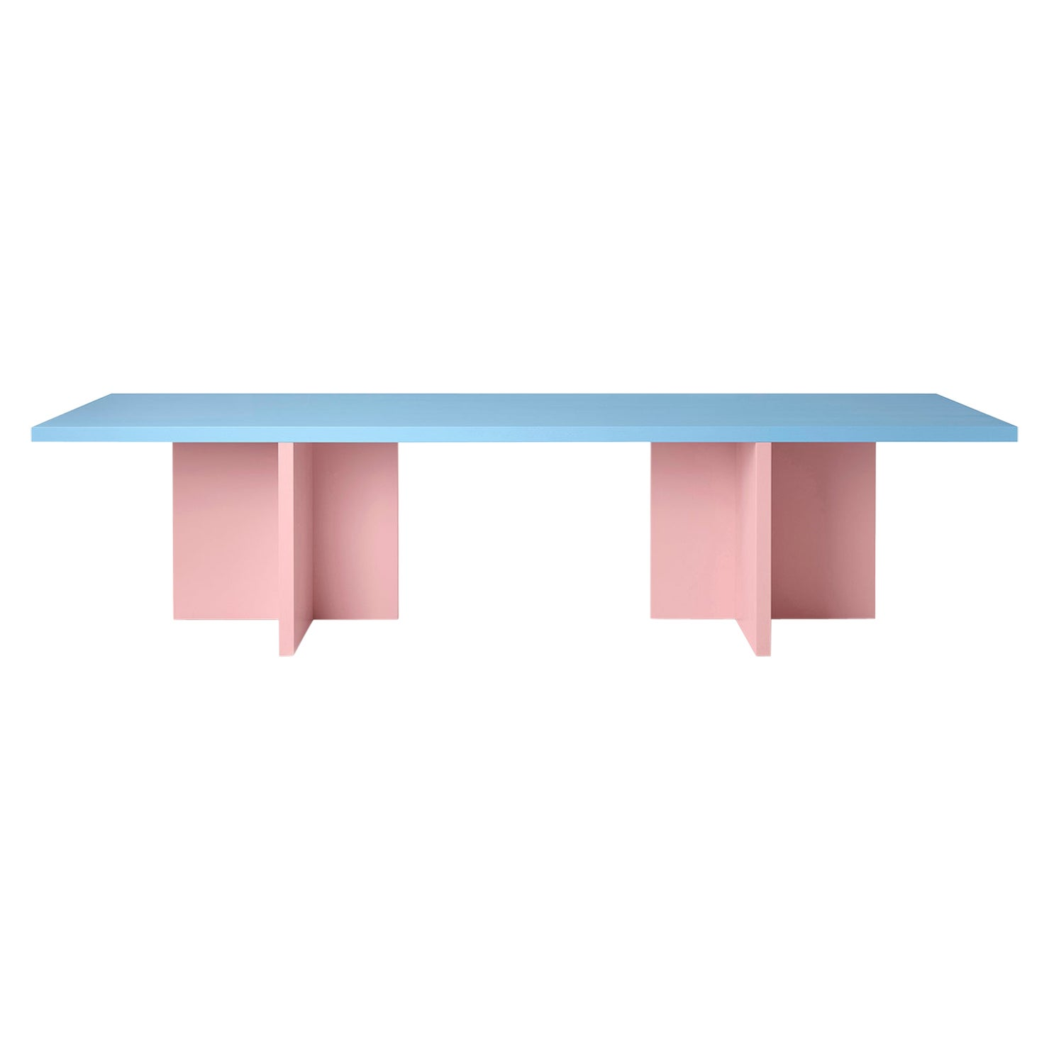 Color-Blocked Lacquered Ash Veneer Elio Dining or Conference Table