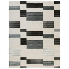 Hello Sonia Carpet in Himalayan Wool and Pure Silk in Grey, Black and Natural