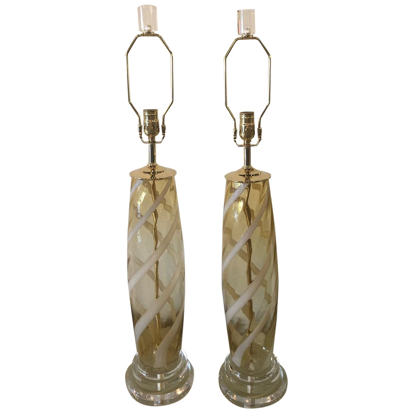 Vintage Pair of Murano Glass Table Lamps Amber Yellow Lucite Brass