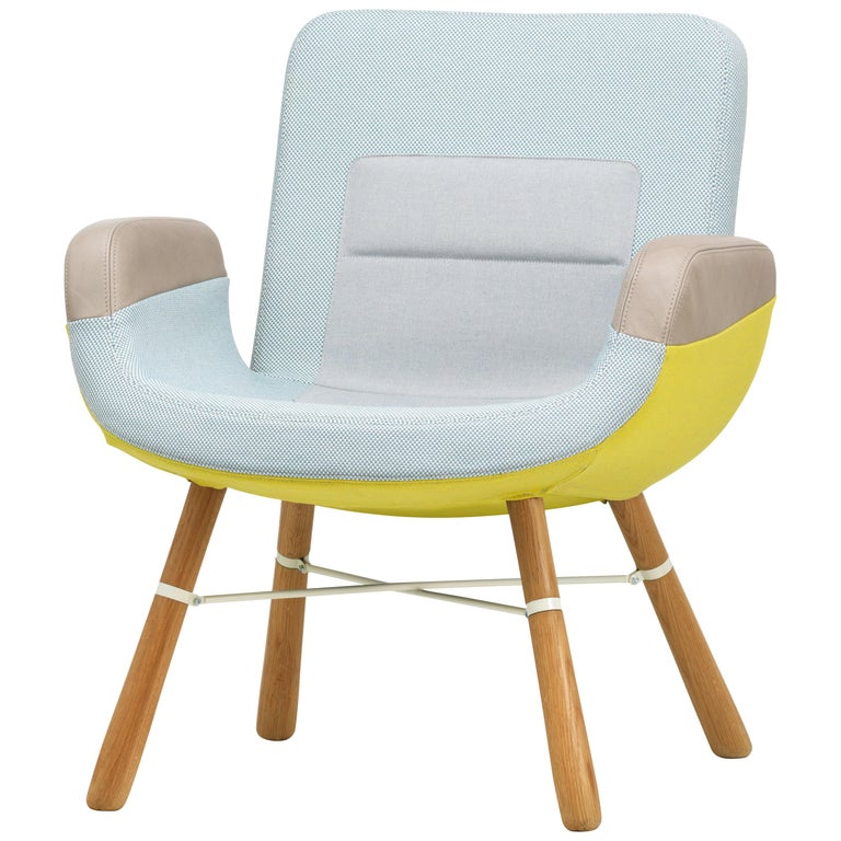 Vitra East River Chair in Light Combo Fabric with Oak Legs by Hella Jongerius