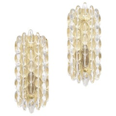 Glass and Brass Wall Sconces by Carl Fagerlund for Orrefors, 1960s