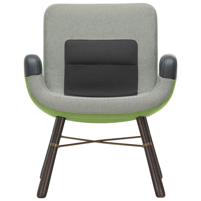 Vitra East River Chair in Green Fabric with Dark Oak Legs by Hella Jongerius