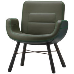 Vitra East River Chair in Jade Mix Leather with Dark Oak Legs by Hella Jongerius