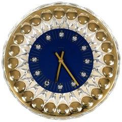 1980s Gold-Plated Crystal Glass Wall Clock Hollywood Regency JOSKA-Waldglashütte