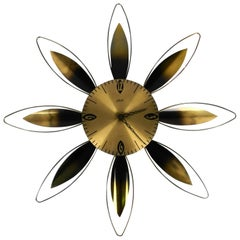 Extra Large Original Midcentury Sunburst Atlanta Brass Wall Clock