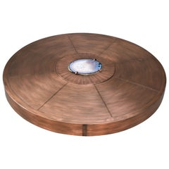 Round Cocktail Table by Belgali Acid Etched Copper and Agate Slices