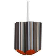 Midcentury Danish Pendant with Six Cylinders the Lamp is Orange Inside