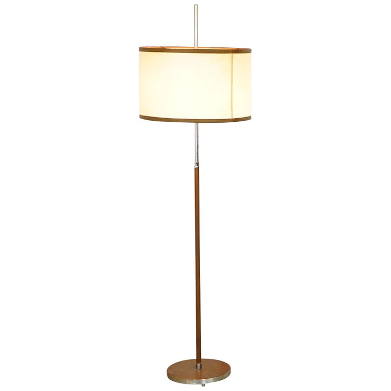 Exclusive Floor Lamp with a Shade of Leather, 1970s