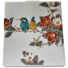 Contemporary Japanese Kutani Hand-Painted Porcelain Vase by Master Artist