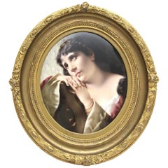Big Rare KPM Berlin Porcelain Plate with Portrait of a Dreamy Young Woman