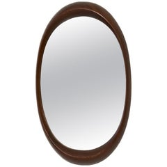 Scandinavian Modern Afromosia Oval Wall Mirror, Sweden