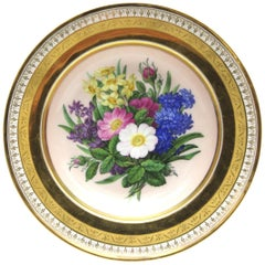 Deep Botanical KPM Berlin Porcelain Plate with Rich Gold and Flower Painting