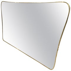 Italian Midcentury Wide Brass Mirror