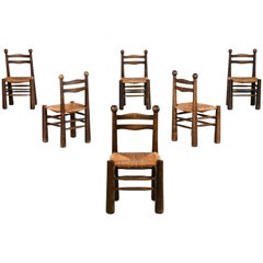 Set of 6 Chairs, Charles Dudouyt Style in Oak