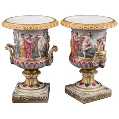 Pair of Porcelain Vases, Capodimonte Style, 19th-20th Century