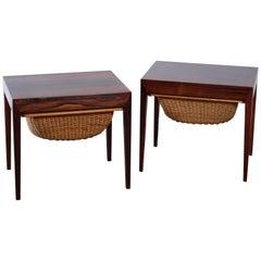 Rosewood Sewing Tables by Severin Hansen for Haslev Møbelsnedkeri, Set of 2
