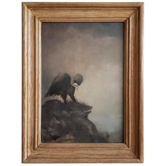 Oil Painting by Unknown Artist, Depicting a Vulture Standing on a Rock