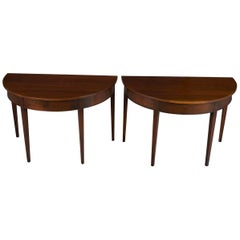 Pair of Mahogany Demilune Half Moon Side Hall Tables