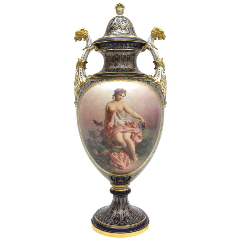 Very Rare Meissen Porcelain Vase with Portraits and Rich Enamel Painting